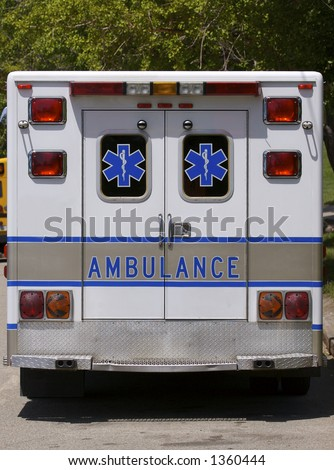 Ambulance Rear View - stock photo