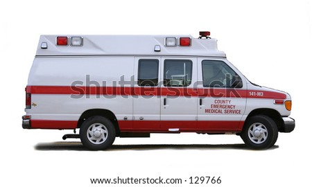 Ambulance with white background and side for use with advertising. - stock photo