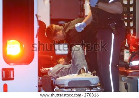 ambulance workers - stock photo