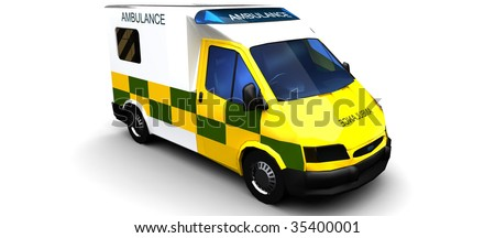 Ambulence Isolated on White - stock photo