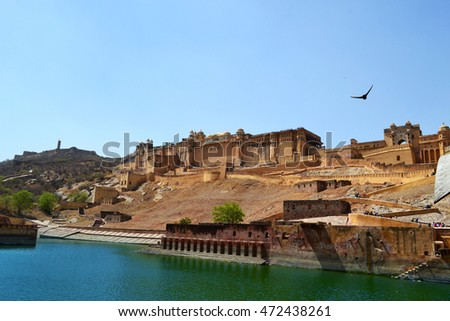 Amer fort landscape, historical architecture on the hilltop, UNESCO world heritage, Jaipur, Rajasthan, India