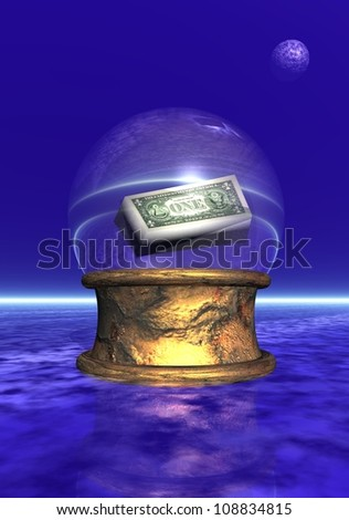 Amercian banBlue crystal ball upon golden base in black and blue background - stock photo