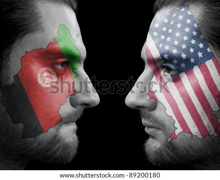 America Against Afghanistan - stock photo