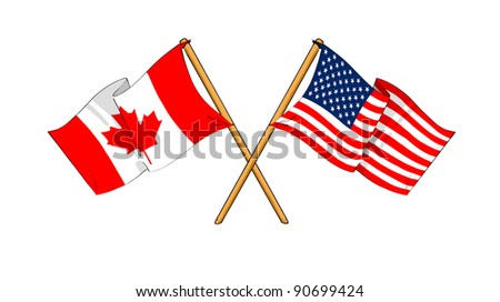 America and Canada alliance and friendship - stock photo