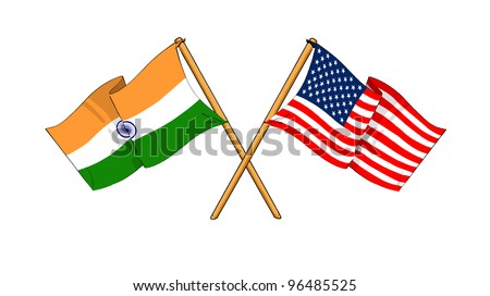 America and India alliance and friendship - stock photo