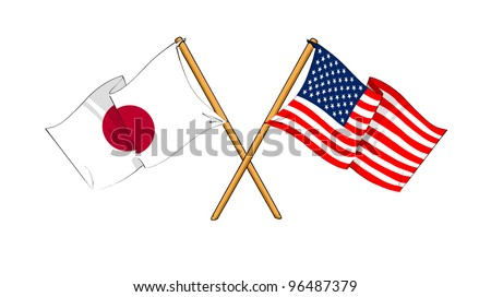 America and Japan alliance and friendship - stock photo