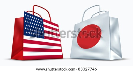 America and Japan trade symbol represented by two shopping bags with the American and the Japanese flag with stars stripes and red rising sun showing the trading between two economic partners.