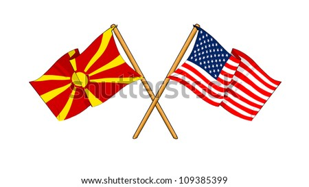 America and Macedonia alliance and friendship - stock photo