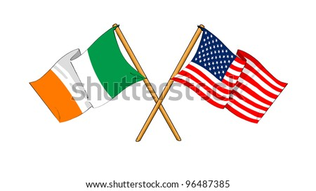 America and Republic of Ireland alliance and friendship - stock photo