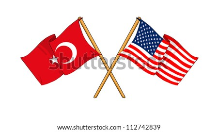 America and Turkey alliance and friendship - stock photo