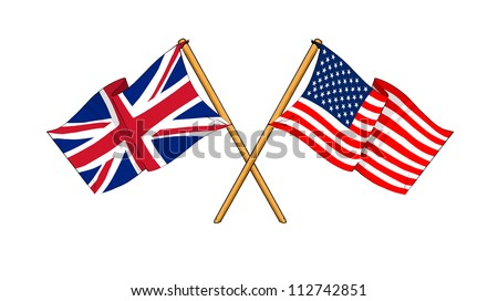 America and United Kingdom alliance and friendship - stock photo