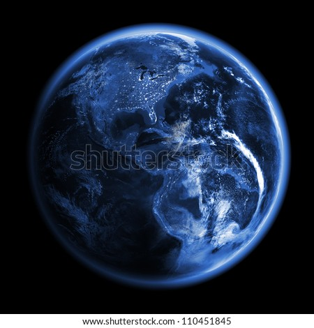 America 3d render. Elements of this image furnished by NASA - stock photo