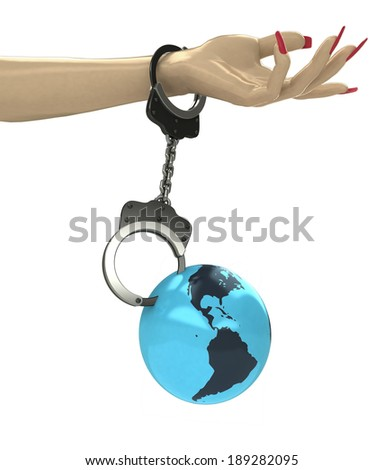 America earth globe attached with chain to human hand illustration - stock photo