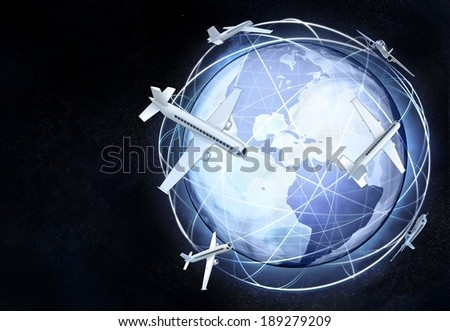 America earth globe view with air traffic illustration