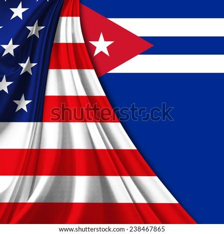 America flag Cuba flag  - stock photo