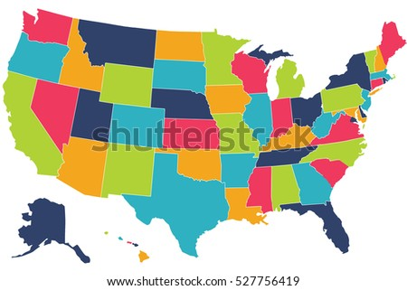 Map United States America Vector Set Stock Vector - The map of united states of america
