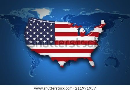 America flag map and map of the world background