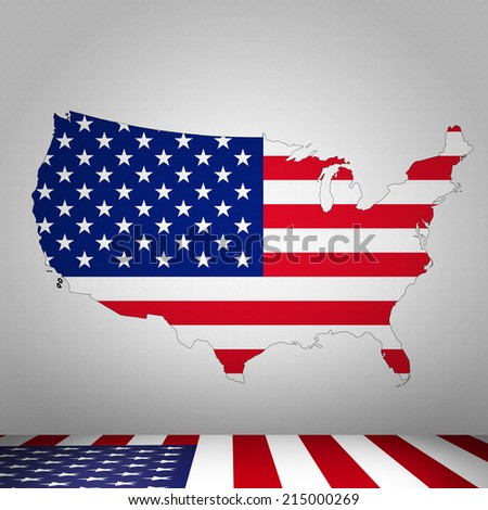 America flag map and wall background - stock photo