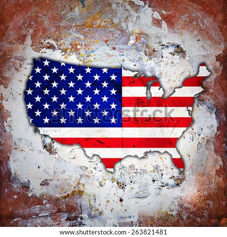 America flag,map and wall background - stock photo