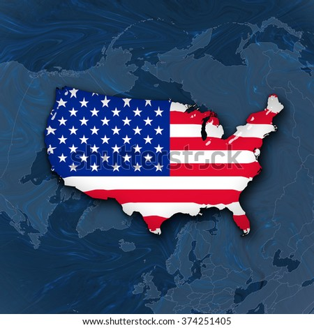 America flag,map and world map background