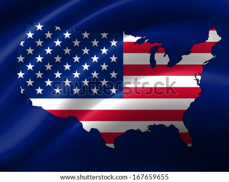 America flag,map, folds background
