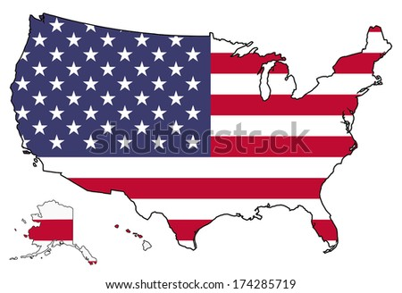America flag map isolated on a white background, U.S.A.