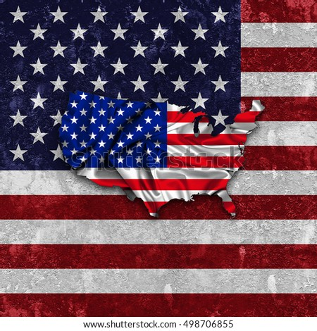 America flag,map of silk  and wall background -3D illustration
