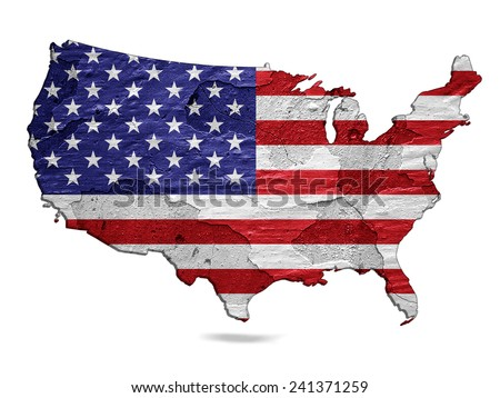 America flag map of wall and white background - stock photo