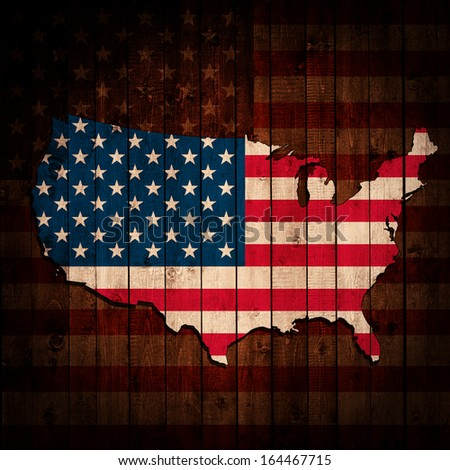 America flag, map, wood, background