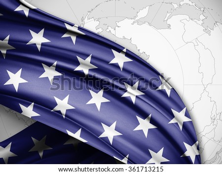 America  flag of silk with copyspace for your text or images and world background