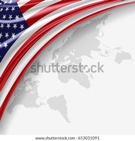 America  flag of silk with copyspace for your text or images and World map background-3D illustration
