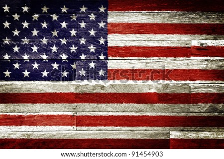 america flag painted on old wood background - stock photo