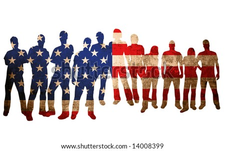 america flag style of people silhouettes
