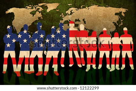 america - flag style of people silhouettes and world map background