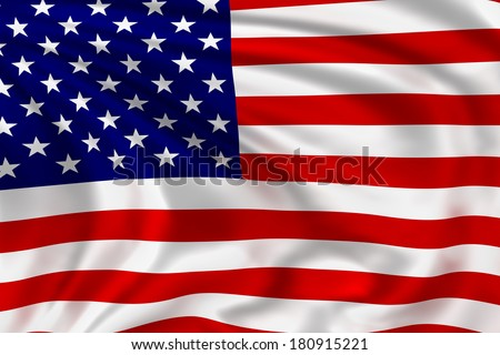 America flag waving in the wind. High quality illustration.