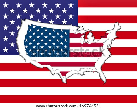 America flag with map
