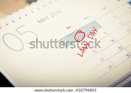 America law day - red circle on date in calendar