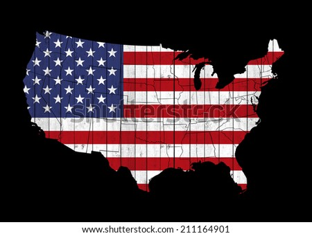 America map flag and black background