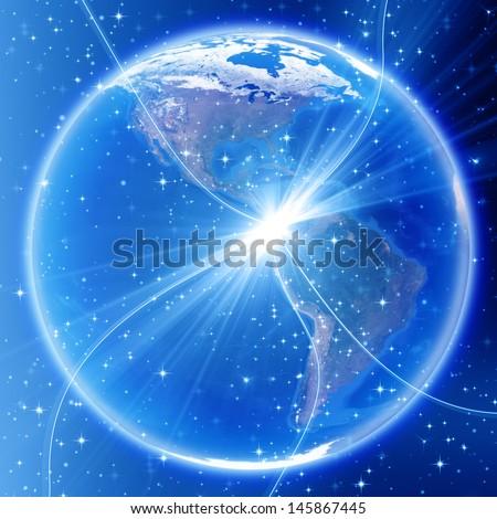 America map, globe image provided by NASA  - stock photo