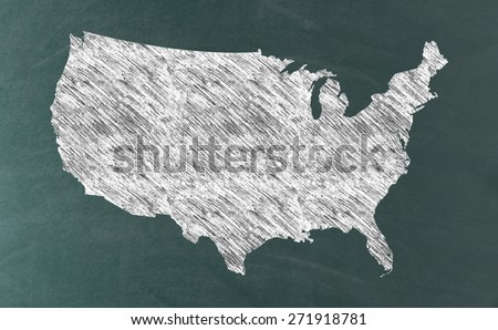 America map on grunge blackboard