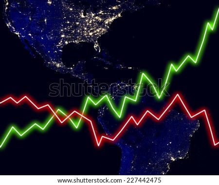 America map stock market chart business background. Elements of this image furnished by NASA. - stock photo
