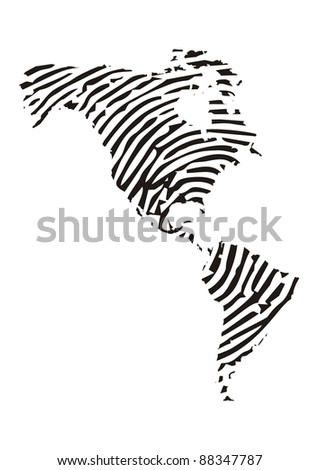 America Map with fingerprint