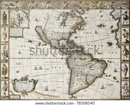 America old map with Greenland insert map. Created by John Speed. Published in London, 1627 - stock photo
