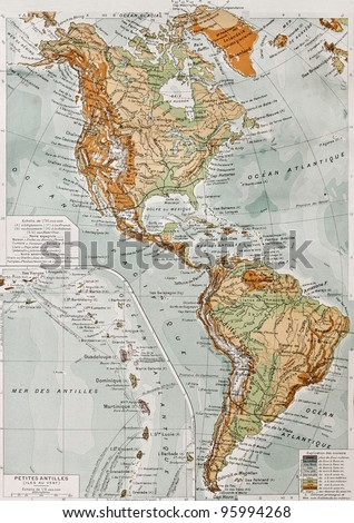 America physical map with Lesser Antilles insert map. By Paul Vidal de Lablache, Atlas Classique, Librerie Colin, Paris, 1894 (first edition) - stock photo
