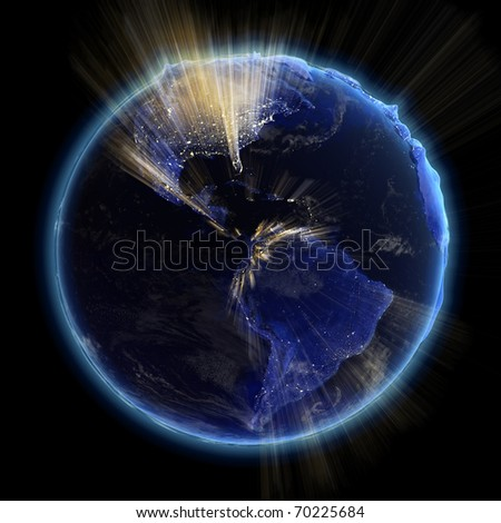 America real relief at night. Earth map from NASA - stock photo