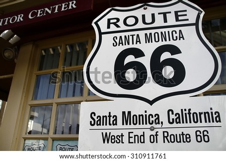 America SantaMonica American mother road Route 66 National highway historic road - stock photo