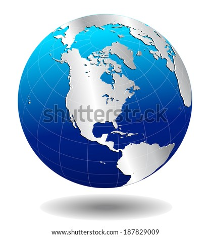 AMERICA Silver Global World - Elements of this image furnished by NASA the base map of the Globe is Hand Drawn using the pen tool with a tablet pen for maximum detail - Raster Version - stock photo