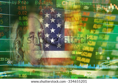 america stock market ticker concept with flag and face of benjamin franklin on USD (dollar) 100 bill - stock photo