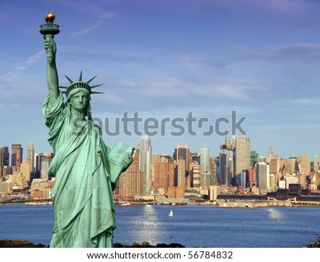 america usa new york cityscape tourism concept photograph. new york city statue of liberty skyline. new york statue of liberty over hudson river. Manhattan  new york