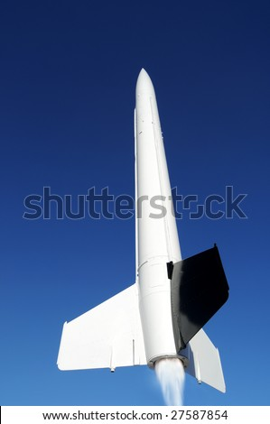 American Aerobee Hi missile was designed to carry heavy payloads to high altitudes. - stock photo